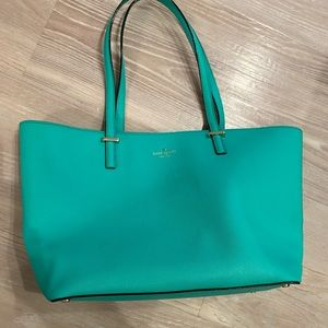 Green Kate Spade zippered Tote